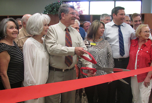 Ribbon Cutting ceremony with the Santa Fe Chamber of Commerce, Bienvenidos, Mayor Javier Gonzales, staff and guests.